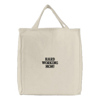 HARD WORK N MOM EMBROIDERED TOTE BAG