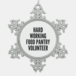 Hard Working Food Pantry Volunteer Snowflake Pewter Christmas Ornament