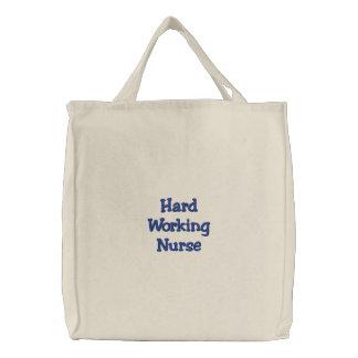 Hard Working Nurse Embroidered Tote Bag
