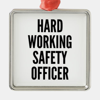 Hard Working Safety Officer Silver-Colored Square Decoration