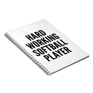 Hard Working Softball Player Notebook