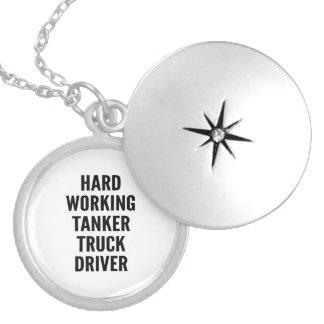 Hard Working Tanker Truck Driver Round Locket Necklace
