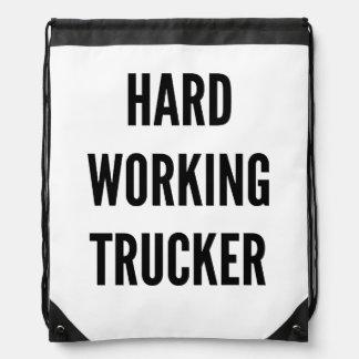 Hard Working Trucker Drawstring Bag