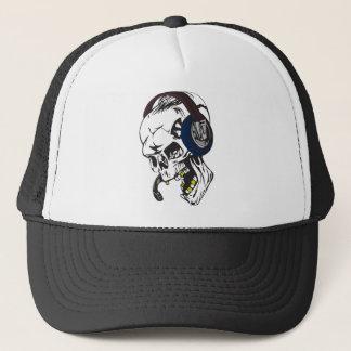 hardcore dee jay skull trucker hat