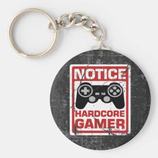 Hardcore Gamer Notice Signboard Basic Round Button Key Ring