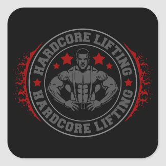 Hardcore Lifting Flexing Bodybuilder Square Sticker