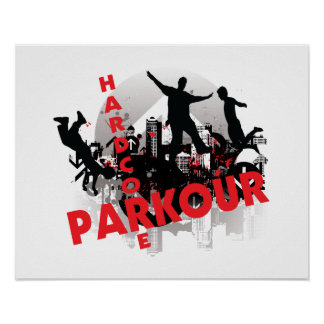 Hardcore Parkour Grunge City Poster