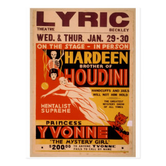 Hardeen brother of Houdini, 'The Mystery Girl' Postcard