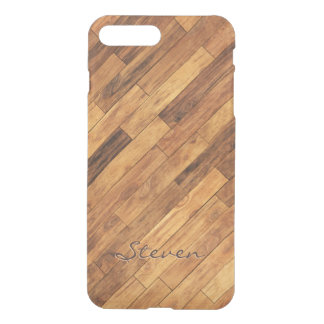 Hardwood Wood Grain Floor Pattern Monogram Name iPhone 8 Plus/7 Plus Case