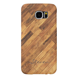 Hardwood Wood Grain Floor - Personalized Name Samsung Galaxy S6 Cases