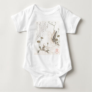Hare and Dandelion, Kubo Shunman, Japanese Art Baby Bodysuit