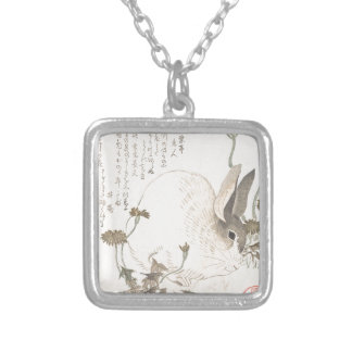 Hare and Dandelion, Kubo Shunman, Japanese Art Silver Plated Necklace