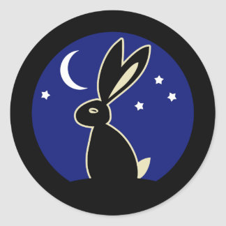 Hare at Twilight Classic Round Sticker
