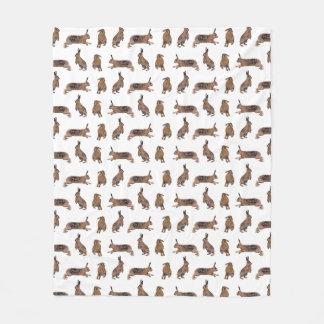 Hare Frenzy Fleece Blanket (choose colour)