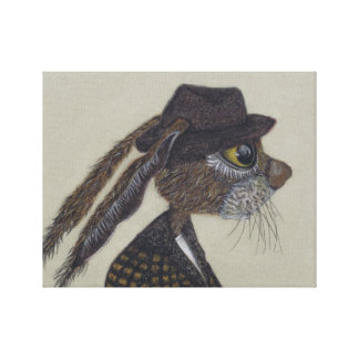 HARE IN HAT CANVAS PRINT