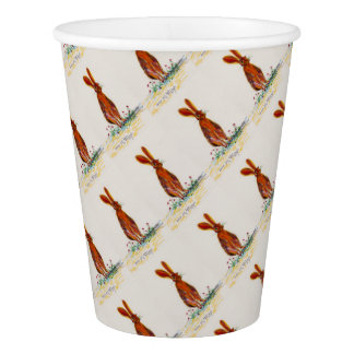 Hare in Poppies Paper Cup
