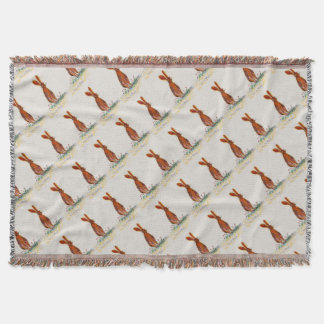 Hare in Poppies Throw Blanket