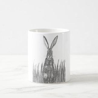 Hare in the grass basic white mug