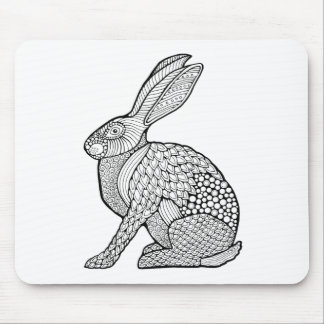 Hare Line Art Design Mouse Pad