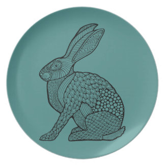 Hare Line Art Design Party Plate