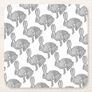 Hare Line Art Design Square Paper Coaster