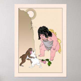 Hare & Monkey Wrestling by Yoshitoshi Poster