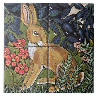 """Hare Rabbit in Garden Mural Ceramic 6"""" Tile Trivet"""