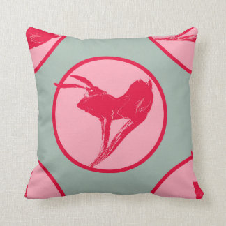 Hare tales Printed Cushion in Raspberry