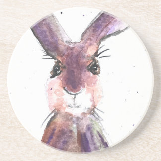 Hare watercolor painting coaster