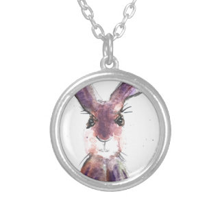 Hare watercolor painting silver plated necklace