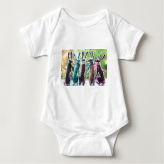Hares with scarves baby bodysuit