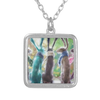 Hares with scarves silver plated necklace