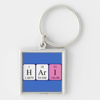 Hari periodic table name keyring Silver-Colored square key ring
