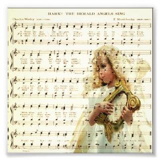 Hark hear the angels sing on vintage music sheet photo art