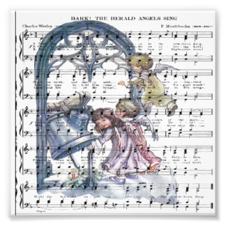 Hark hear the angels sing on vintage music sheet photo art