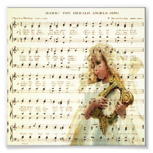 Hark hear the angels sing on vintage music sheet photograph