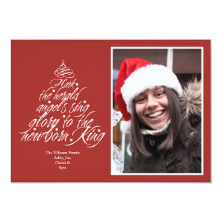 Hark the Christmas carol lyric tree photo red 5x7 Paper Invitation Card