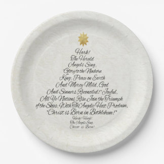 Hark the Herald Angels Sing Christmas Tree Paper Plate