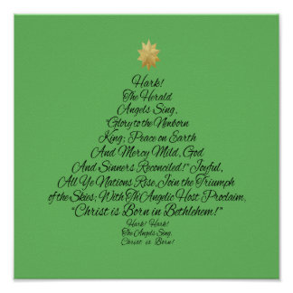 Hark the Herald Angels Sing Christmas Tree Poster