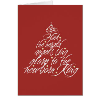 Hark the Herald Christmas carol lyric tree red Card