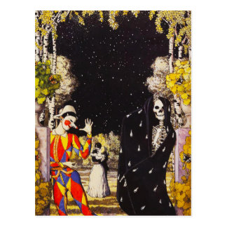 Harlequin and Death Postcard