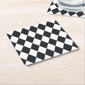 Harlequin Black Square Paper Coaster