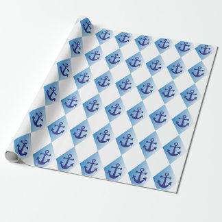 Harlequin blue anchor pattern wrapping paper