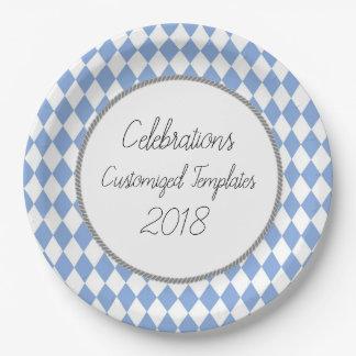 Harlequin-Celebration-Templates-Customize-Blue Paper Plate