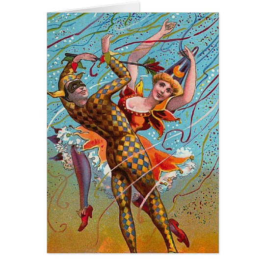 Harlequin Dancing Vintage Illustration Card