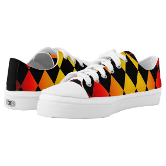 Harlequin ~ Diamond Pattern ~ Fire & Black ~ Low Tops