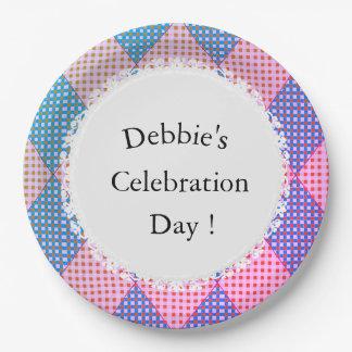 Harlequin_Diamond-Quilt-Pink-Blue_Celebration_CTP Paper Plate