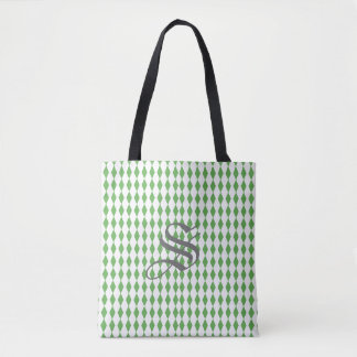 Harlequin Diamonds | Green White Tote Bag