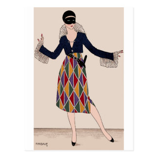 Harlequin Fashion Portrait Postcard