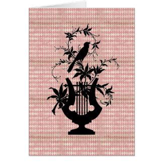Harlequin Harp Bird Silhouette Greeting Card